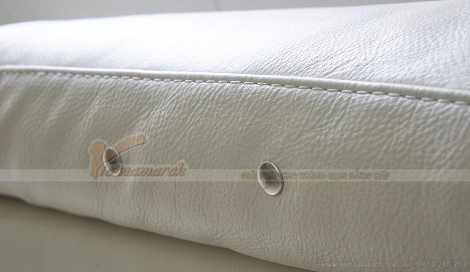 Mẫu ghế sofa góc da trắng cho không gian diện tích rộng - 03