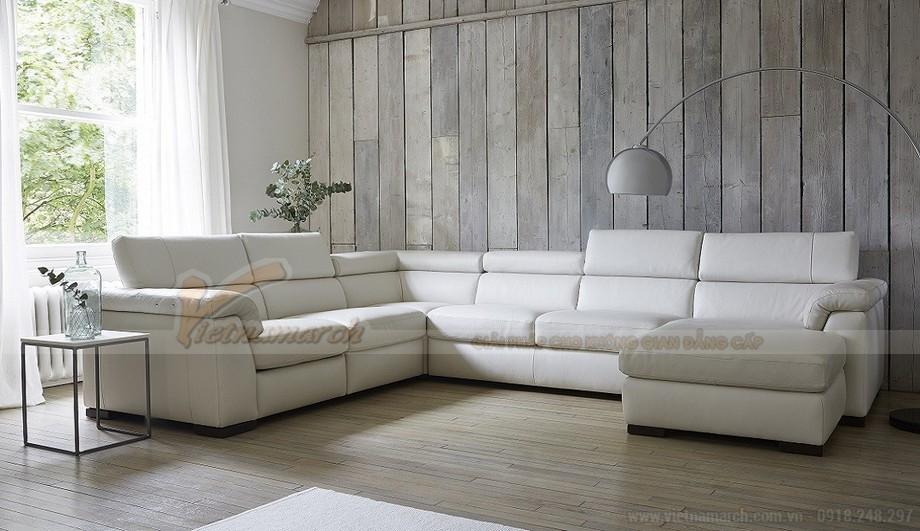 Mẫu ghế sofa góc da trắng cho không gian diện tích rộng - 01