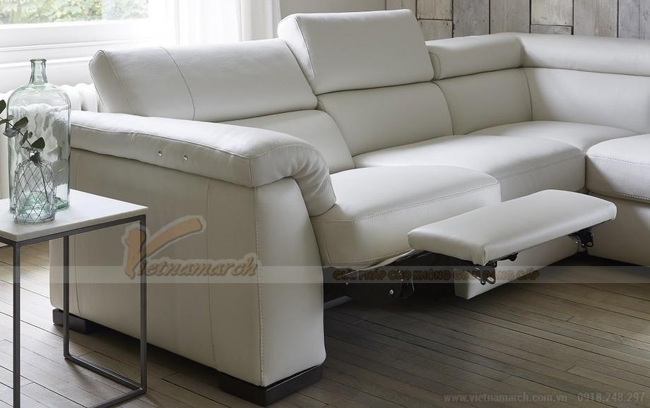Mẫu ghế sofa góc da trắng cho không gian diện tích rộng - 04