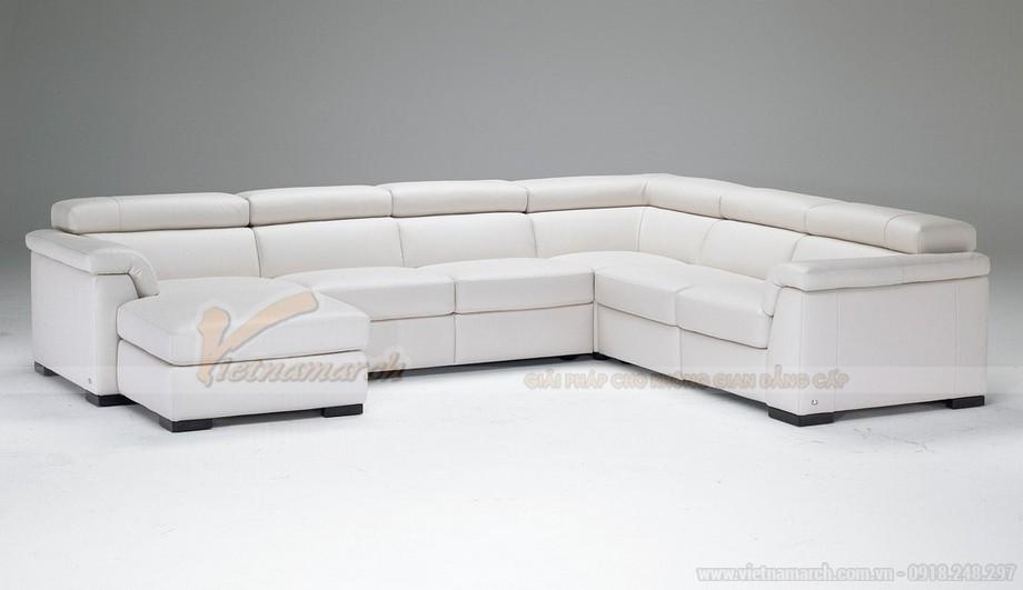Mẫu ghế sofa góc da trắng cho không gian diện tích rộng - 05