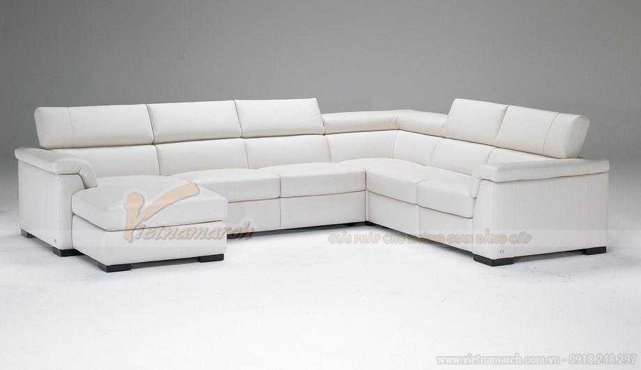 Mẫu ghế sofa góc da trắng cho không gian diện tích rộng - 02