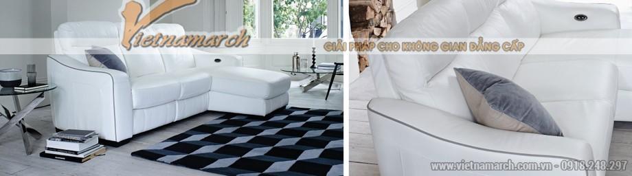 Mẫu ghế sofa góc da trắng với nút bấm thông minh - 01