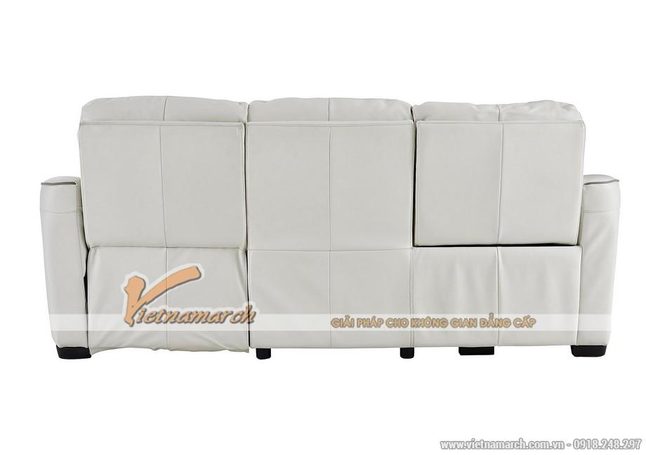 Mẫu ghế sofa góc da trắng với nút bấm thông minh - 02