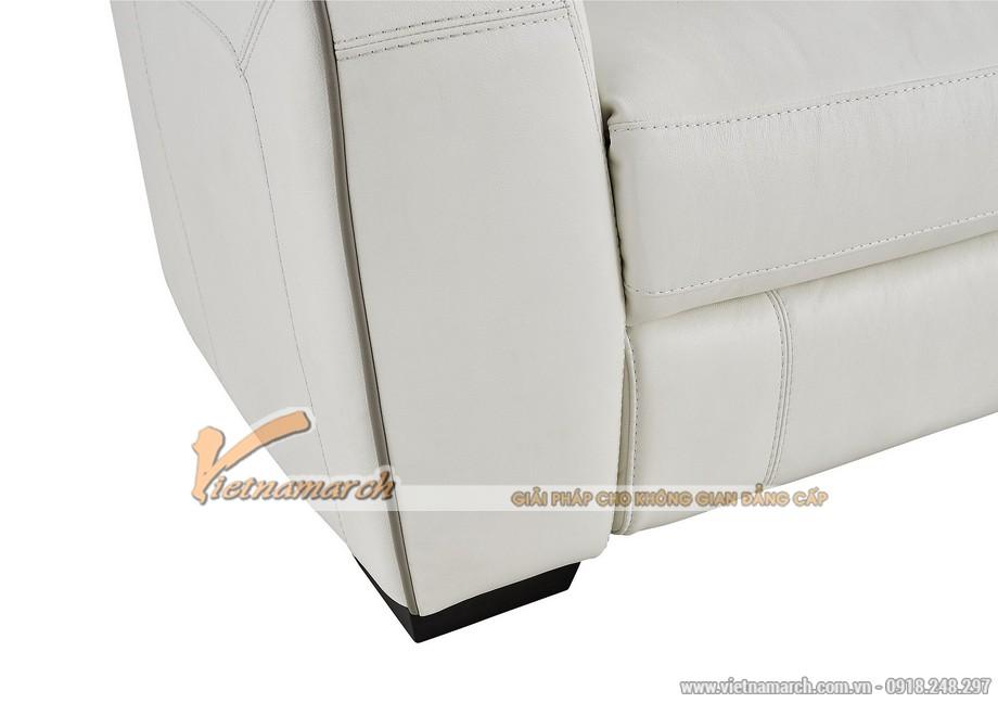 Mẫu ghế sofa góc da trắng với nút bấm thông minh - 04