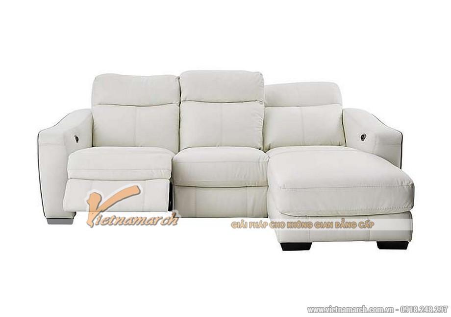 Mẫu ghế sofa góc da trắng với nút bấm thông minh - 03