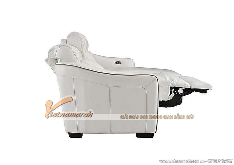 Mẫu ghế sofa góc da trắng với nút bấm thông minh - 06