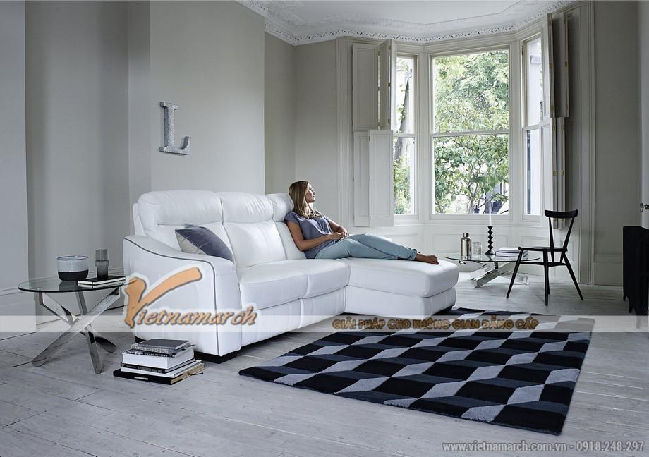 Mẫu ghế sofa góc da trắng với nút bấm thông minh - 07