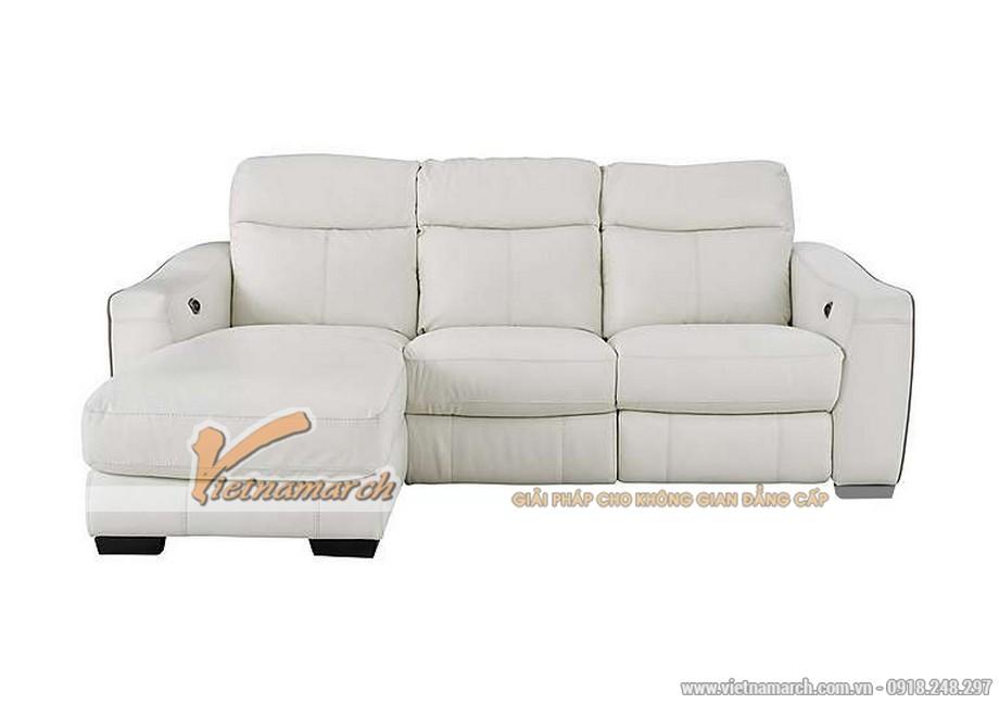 Mẫu ghế sofa góc da trắng với nút bấm thông minh - 08
