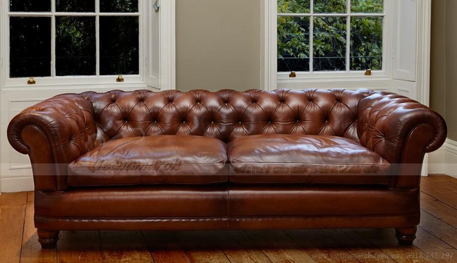 Mẫu ghế sofa văng khung gỗ Sồi chất liệu da nhập khẩu Italia - 01