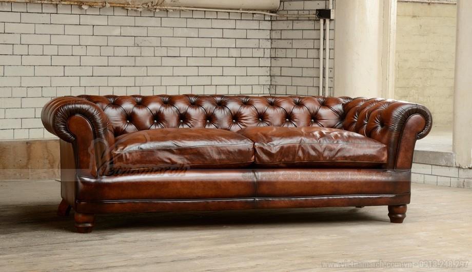 Mẫu ghế sofa văng khung gỗ Sồi chất liệu da nhập khẩu Italia - 02