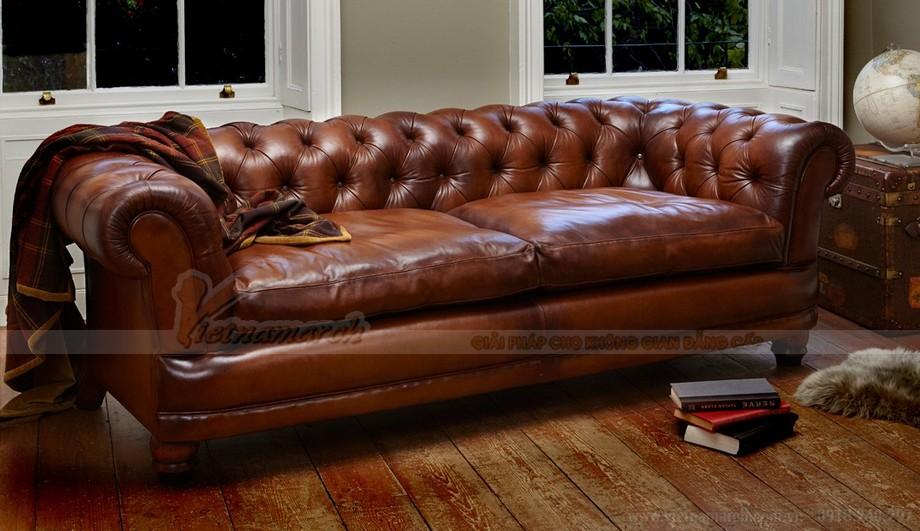 Mẫu ghế sofa văng khung gỗ Sồi chất liệu da nhập khẩu Italia - 04