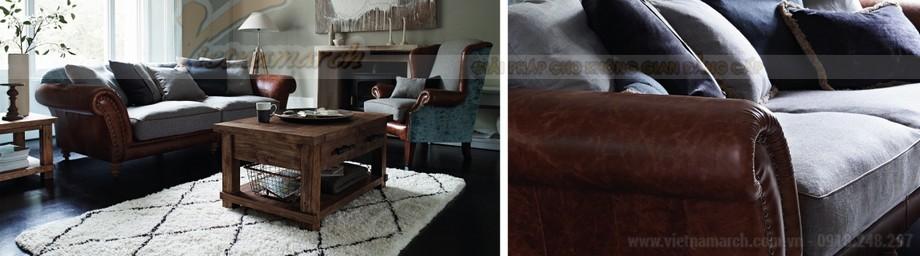 Mẫu ghế sofa thấp bọc da phần khung dưới nhập khẩu Ấn Độ - 01