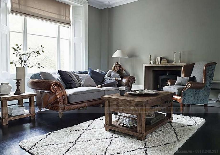 Mẫu ghế sofa thấp bọc da phần khung dưới nhập khẩu Ấn Độ - 04