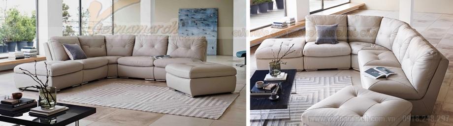 Bộ ghế sofa góc bọc da cao cấp dành riêng cho biệt thự