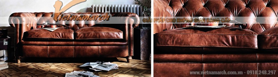 Mẫu ghế sofa văng da bò cao cấp - 01