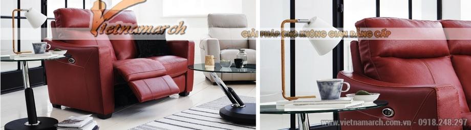 Mẫu ghế sofa văng da đỏ khung gỗ Sồi cao cấp - 01