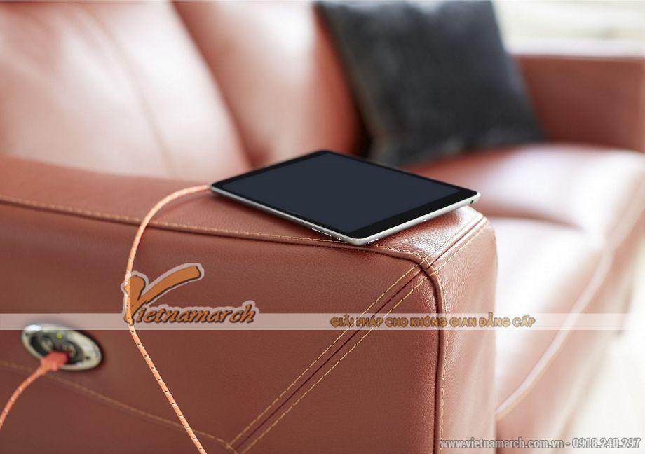 Mẫu ghế sofa văng da đỏ khung gỗ Sồi cao cấp - 04