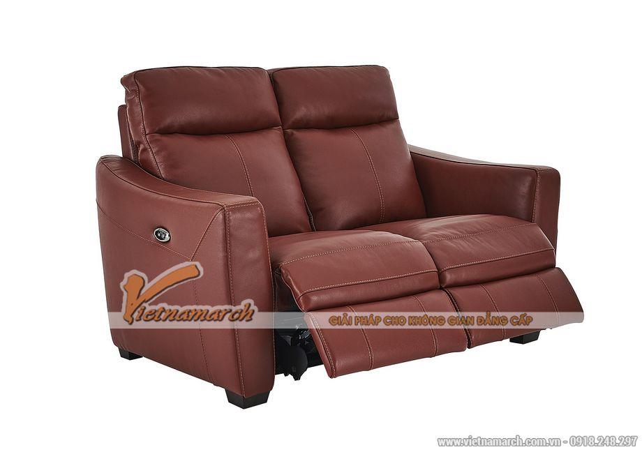 Mẫu ghế sofa văng da đỏ khung gỗ Sồi cao cấp - 03