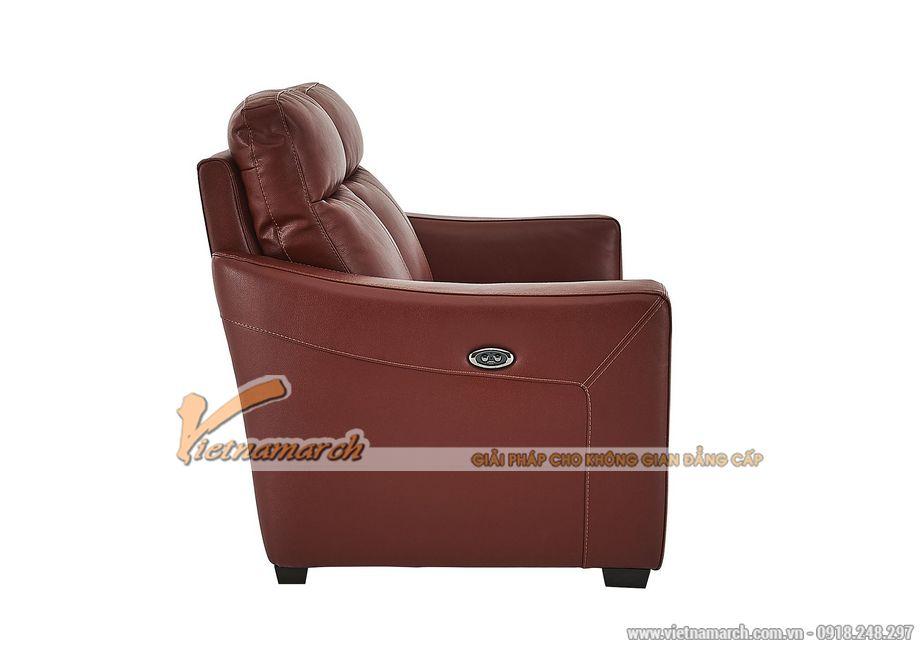 Mẫu ghế sofa văng da đỏ khung gỗ Sồi cao cấp - 05