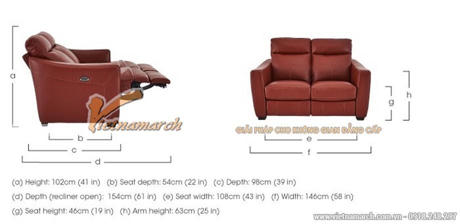 Mẫu ghế sofa văng da đỏ khung gỗ Sồi cao cấp - 07