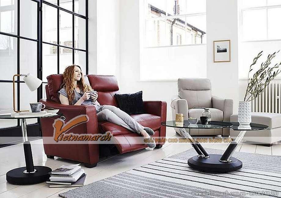 Mẫu ghế sofa văng da đỏ khung gỗ Sồi cao cấp - 06
