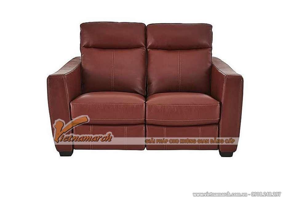 Mẫu ghế sofa văng da đỏ khung gỗ Sồi cao cấp - 02