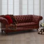 Mẫu ghế sofa da kiểu dáng cổ điển khung gỗ Dầu cao cấp – Mã: SDC-051