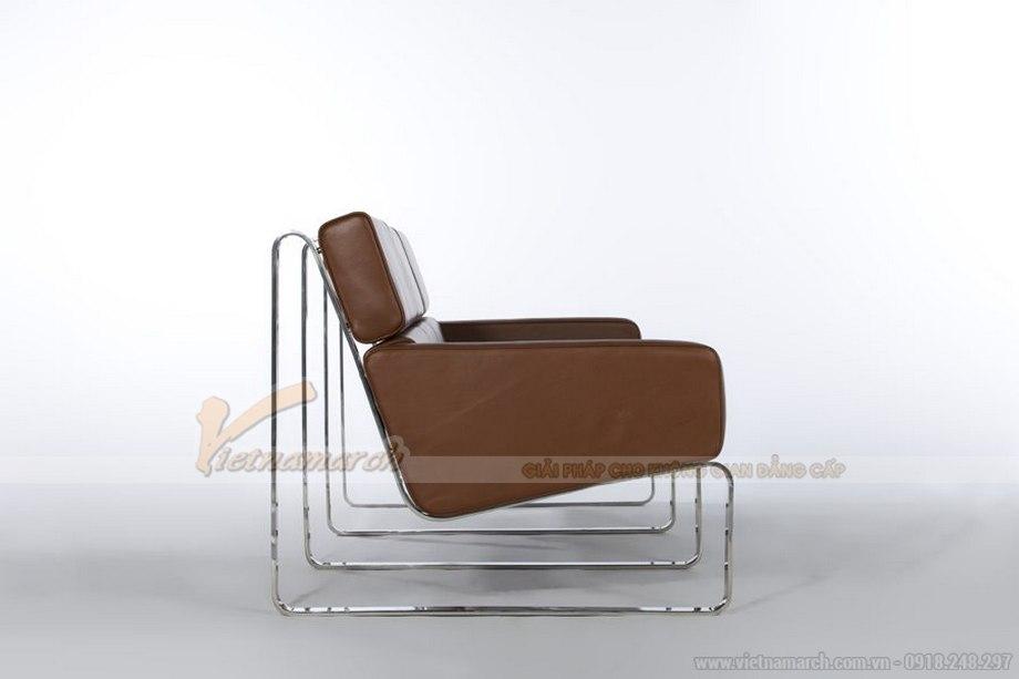 Mẫu ghế sofa bọc da nâu bóng sang trọng vô cùng - 03