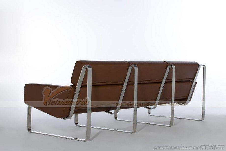 Mẫu ghế sofa bọc da nâu bóng sang trọng vô cùng - 02