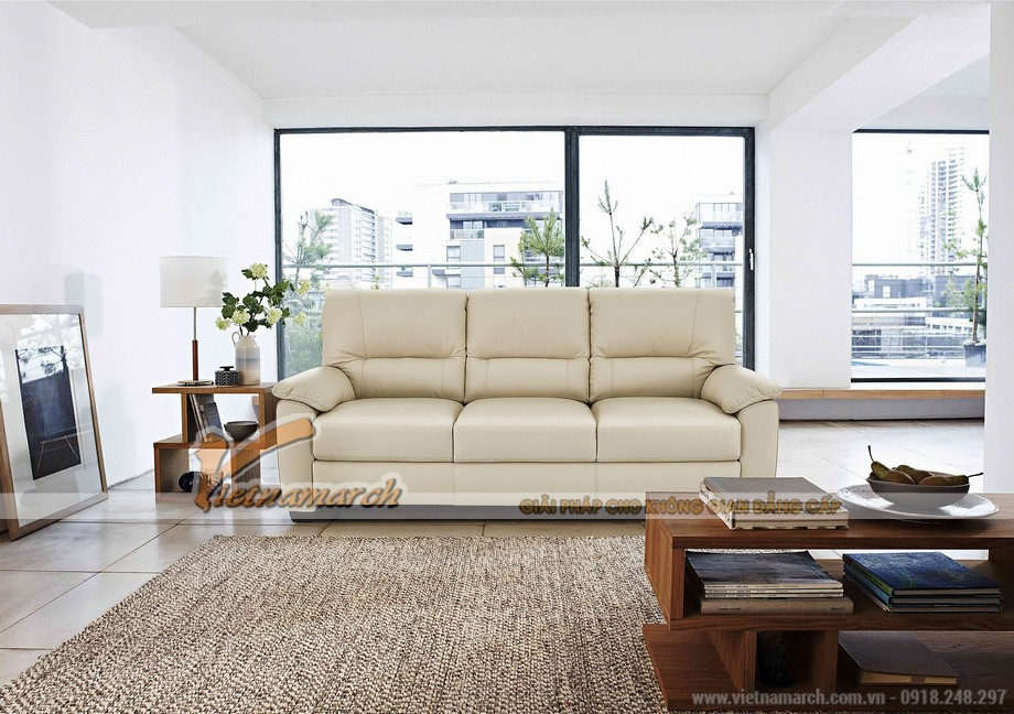 Hình ảnh mẫu ghế sofa văng da trắng sữa cực chất - 01