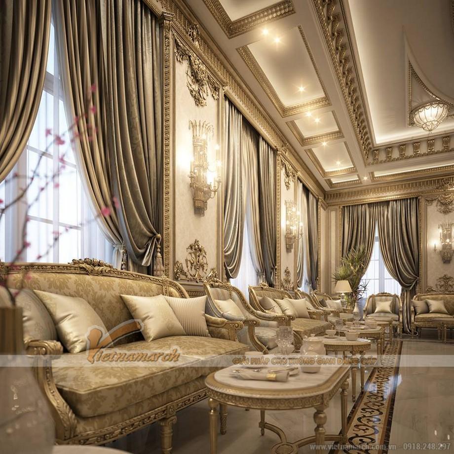Nét đẹp hoàng tộc được thể hiện rõ rệt trong nội thất khu sinh hoạt