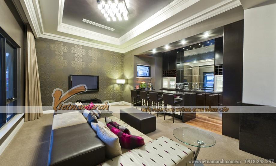 Thiết kế phòng khách nhẹ nhàng quý phái với sofa văng da căng bóng