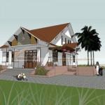 Thiết kế nhà cấp 4 có gác lửng, diện tích 70m2 nhà anh Bắc – Tuyên Quang