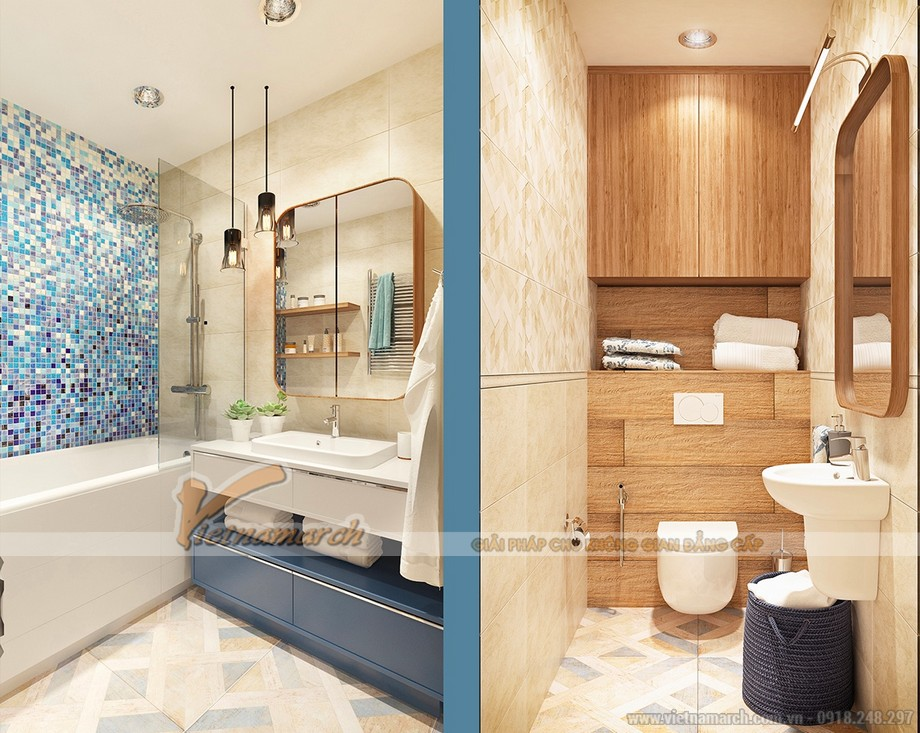 Thiết kế nhẹ nhàng, gam màu tinh tế trong phòng tắm