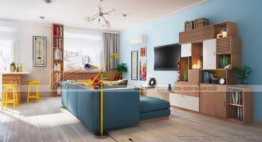 Không gian phòng khách đa sắc màu theo phong cách tươi tắn