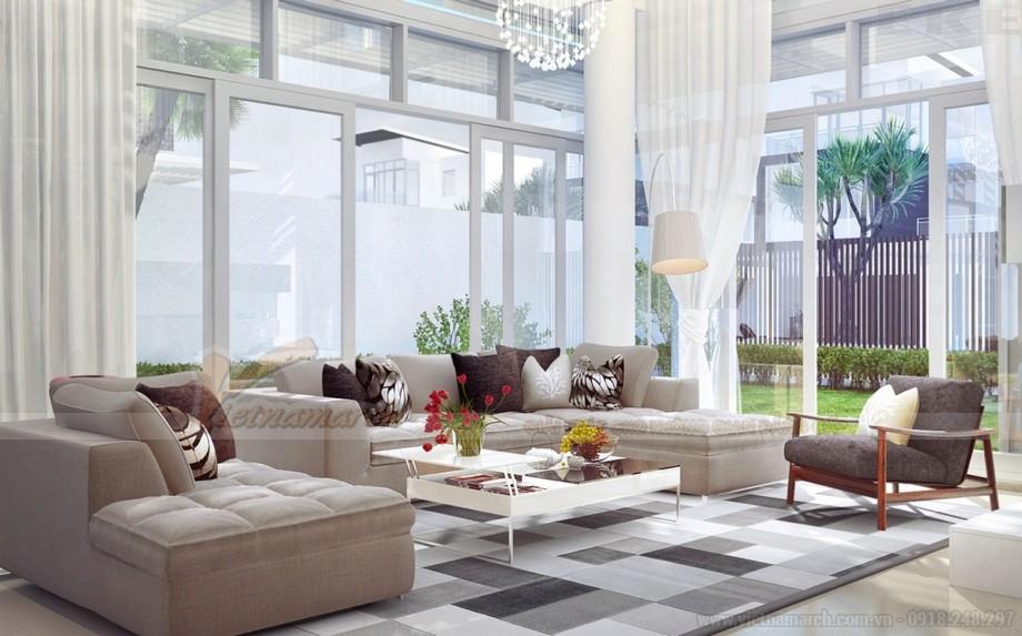 Mẫu thiết kế phòng khách hiện đại dành riêng cho biệt thự Vinhomes Riverside