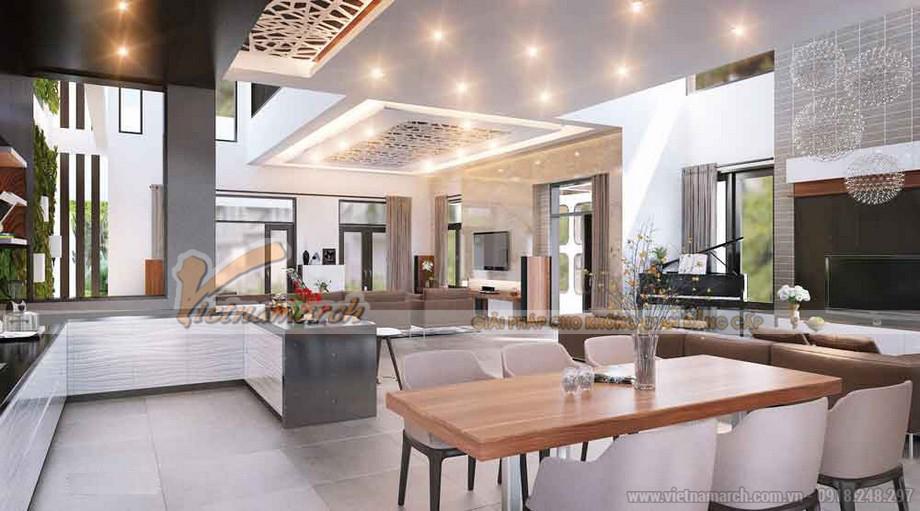 Phòng bếp + phòng ăn hiện đại vô cùng rộng và thoáng