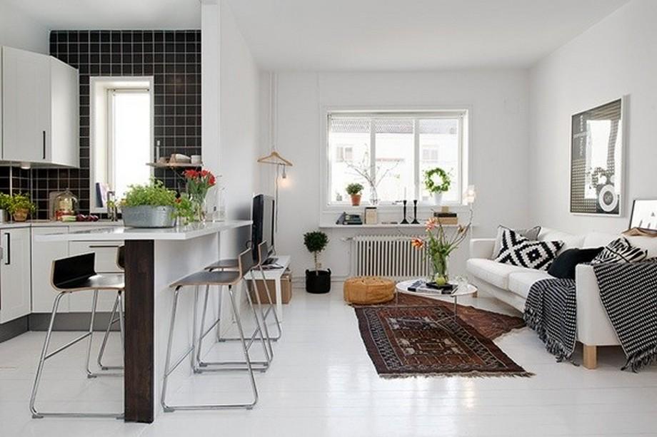 Không sử dụng trần thạch cao nhiều tầng kết hợp với những nội thất nhỏ để làm căn hộ cao và rộng hơn