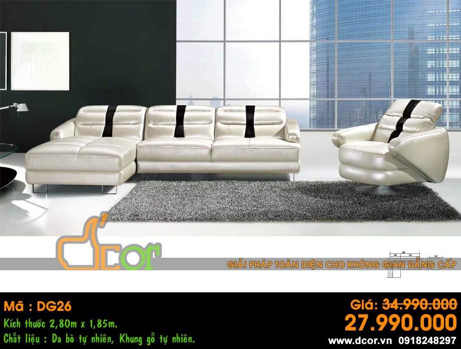 Mẫu ghế sofa da góc – Mã: DG26