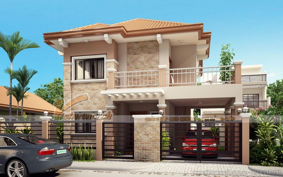 Thiết kế kiến trúc biệt thự 2 tầng mái ngói - 01