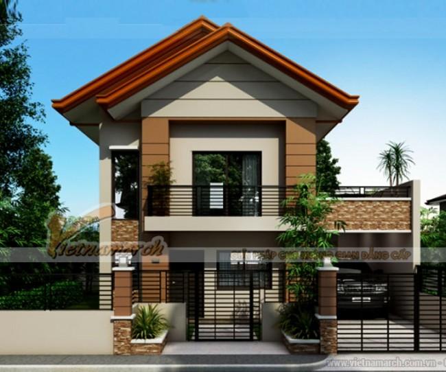 Thiết kế biệt thự 2 tầng mái thái hiện đại nhà anh Vĩnh - Quảng Bình