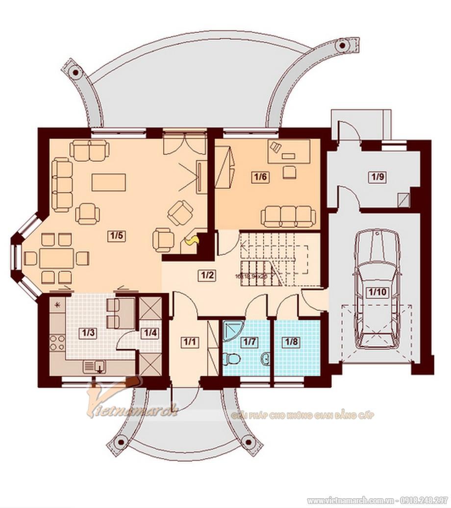 Thiết kế mặt bằng tầng 1 cho nhà cấp 4 mái thái hiện đại