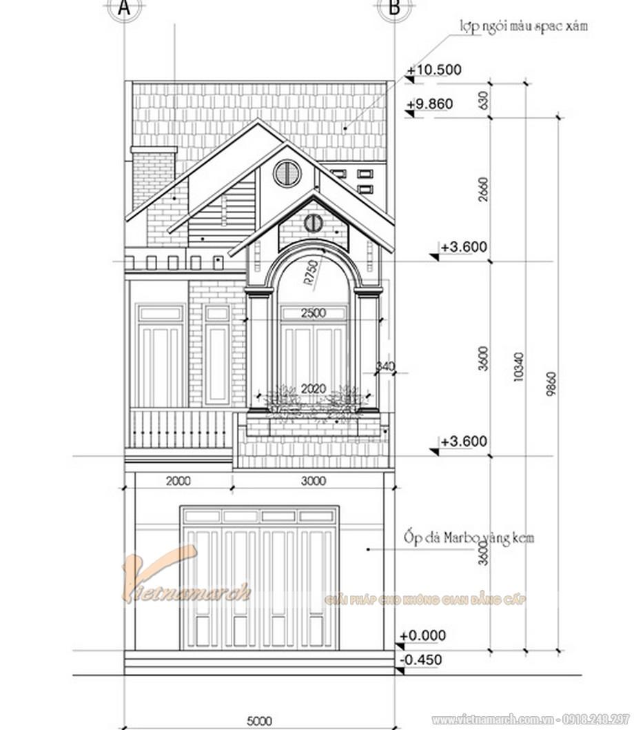 Bản vẽ kiến trúc ngôi nhà phố 2 tầng mái thái
