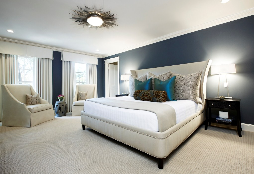 white-table-lamps-for-elegant-master-bedroom-design-with-sun-ceiling-light-fixture-and-blue-wall-paint-color