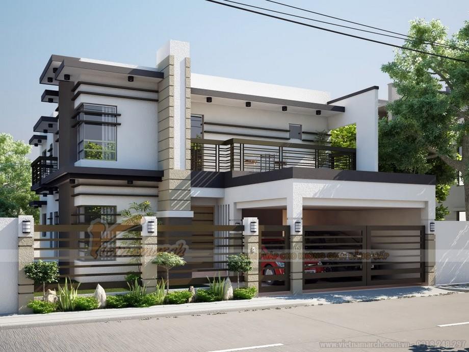 Thiết kế kiến trúc biệt thự 2 tầng phong cách hiện đại