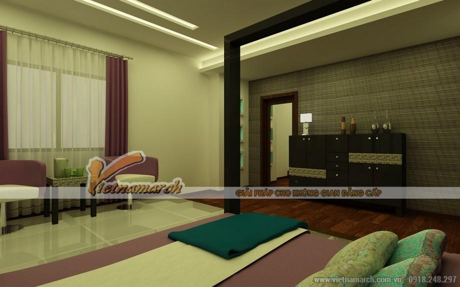 Phòng ngủ với nội thất đơn giản và màu sắc hài hòa