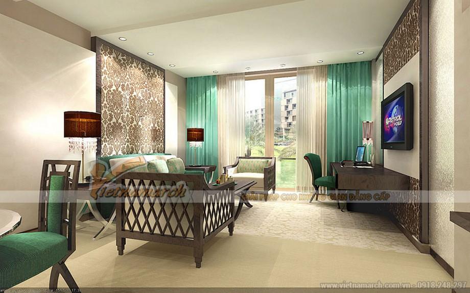 Thiết kế nội thất sang trọng với gam màu xanh ngọc thanh lịch