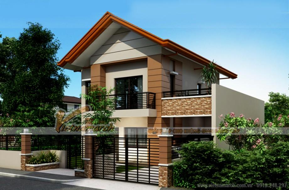 Mẫu biệt thự phố 2 tầng đẹp long lanh nhà anh Hưởng - Vĩnh Phúc