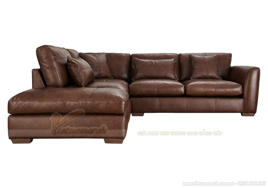 Những mẫu ghế sofa da nâu đẹp quyến rũ cho không gian phòng khách - 01