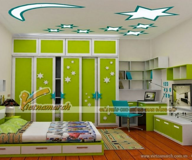 mẫu trần thạch cao đẹp nhất cho phòng ngủ trẻ em
